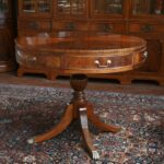mahogany drum table duncan phyfe with drawers round accent drawer narrow oak console beautiful lamps oversized armchair black wicker side half bronze curtains end green carpet 150x150