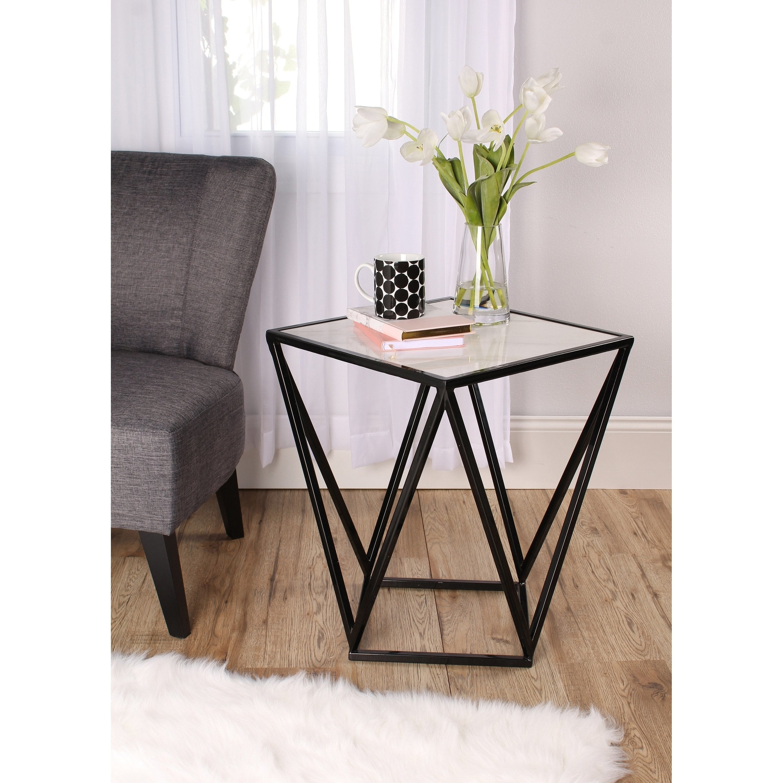 maia metal side accent table with marble top kate and laurel gold modern stock target sofa white contemporary coffee tiffany floor lamps casual dining sets bbq grill leg