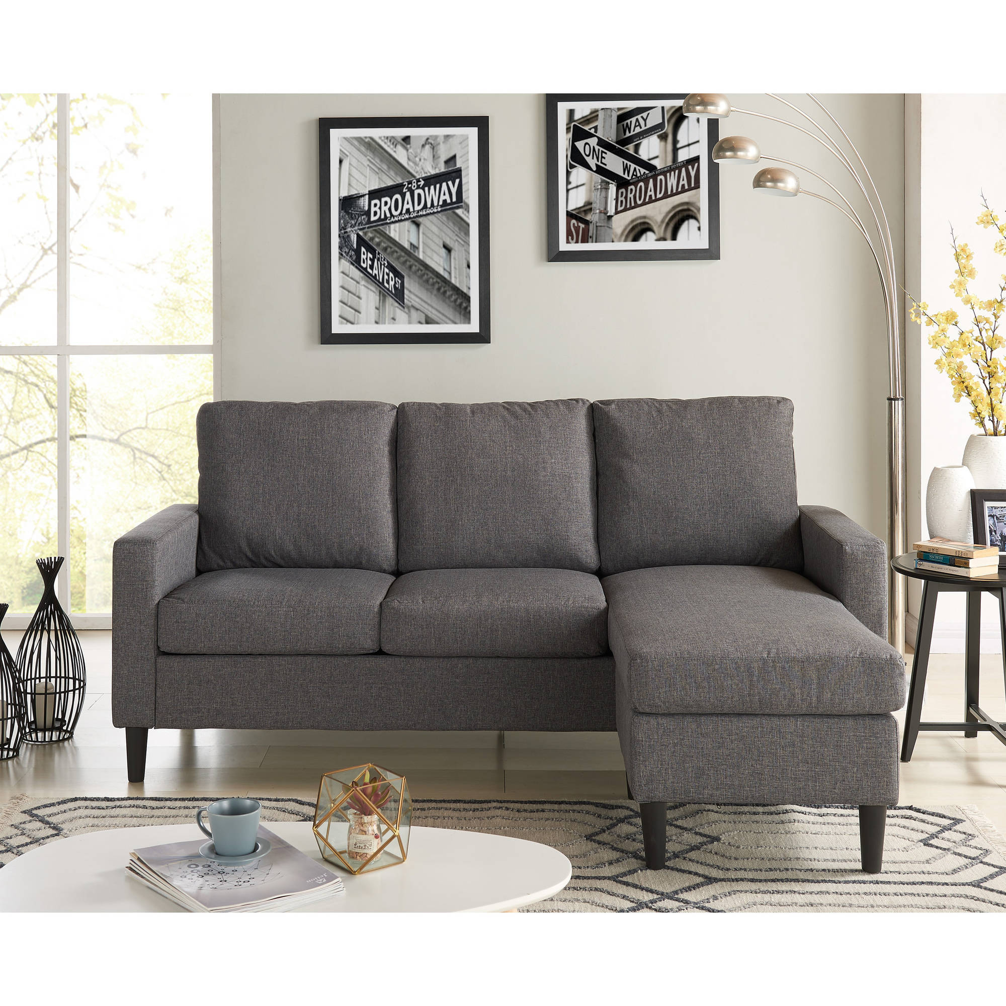 mainstays apartment reversible sectional multiple colors square accent table grey patterned armchair bunching coffee tables target leather ott summer furniture best computer desk
