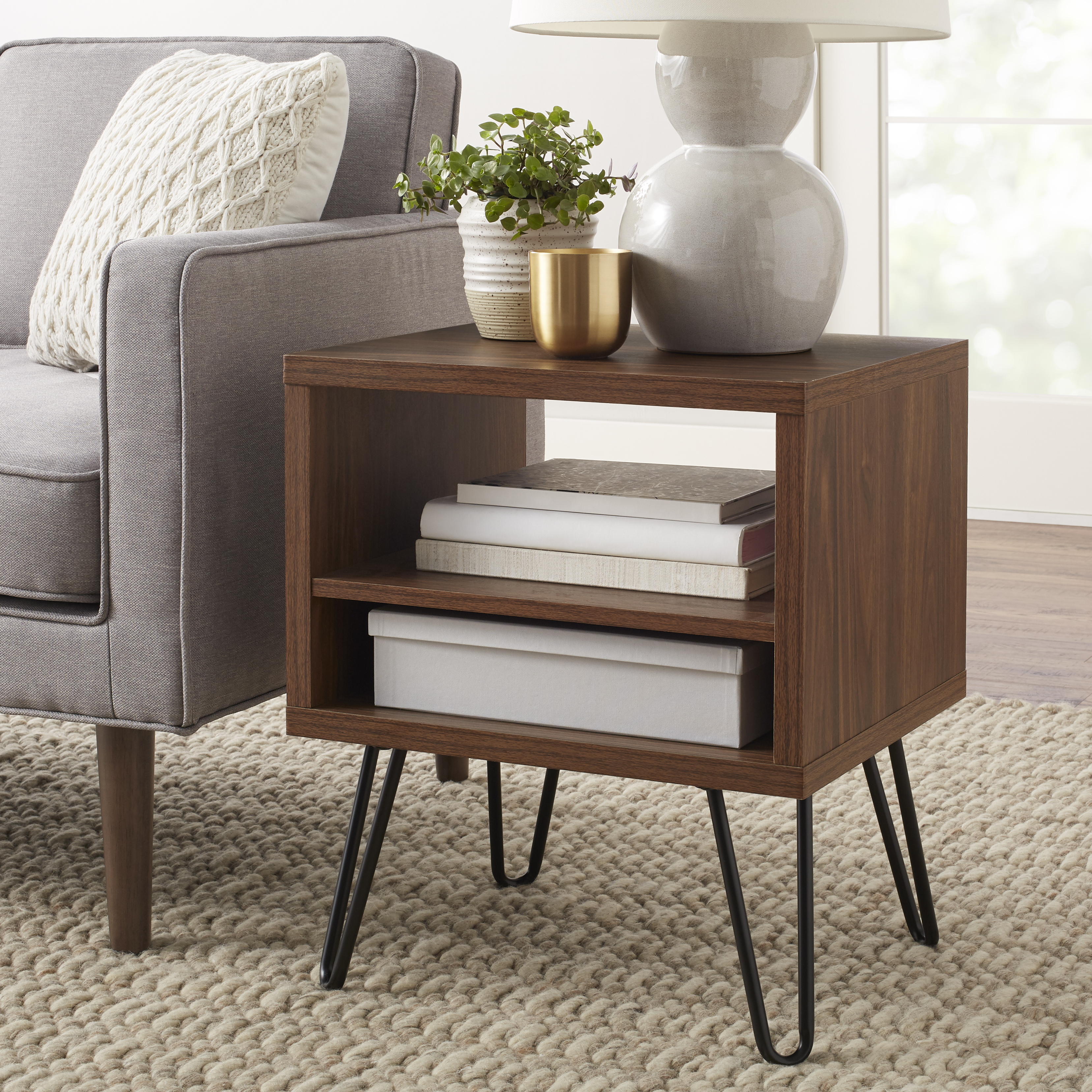 mainstays bennett mid century hairpin accent table room essentials mixed material modern floor lamp with attached mirrored bedroom end tables stylish lamps door console cabinet