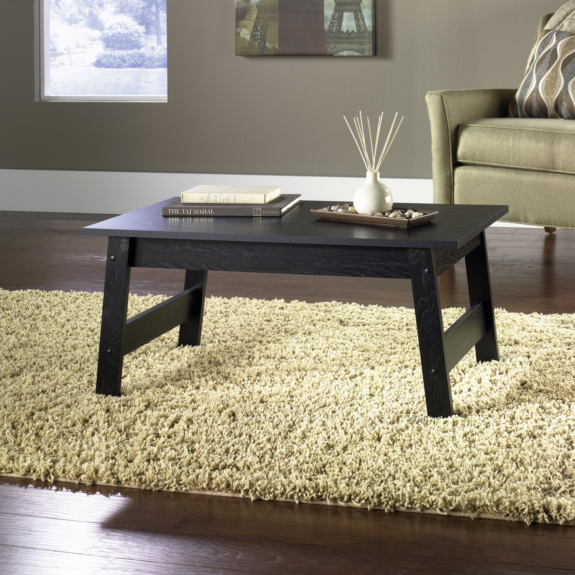 mainstays coffee table black oak finish round accent christmas placemats live edge brown threshold ozark trail tumbler discontinued glass white furniture farm trestle base modern