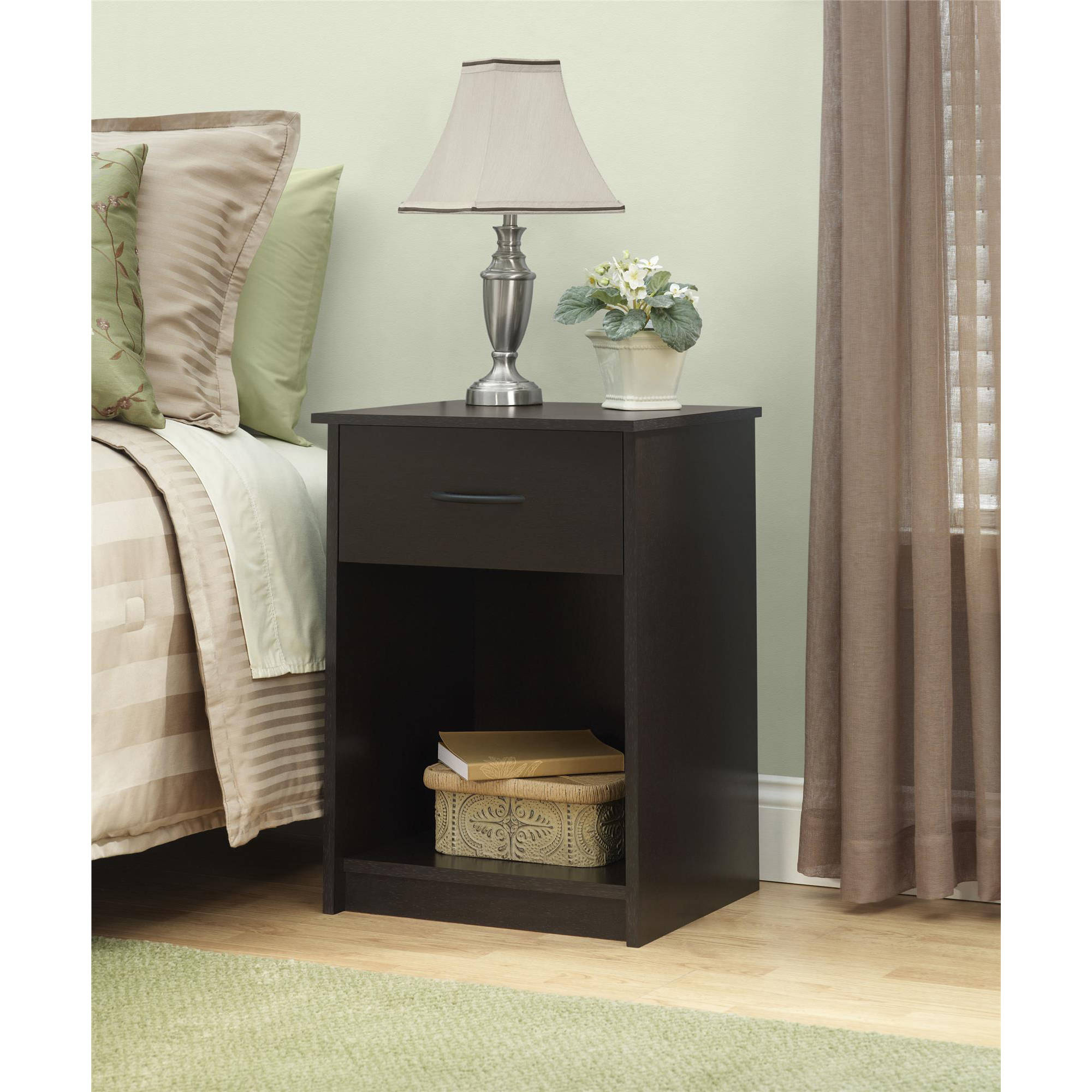 mainstays drawer nightstand end table black ebony ash dvd storage trunk target ashley leather sofa set circle dining room half side oval accent white appliances farmhouse decor