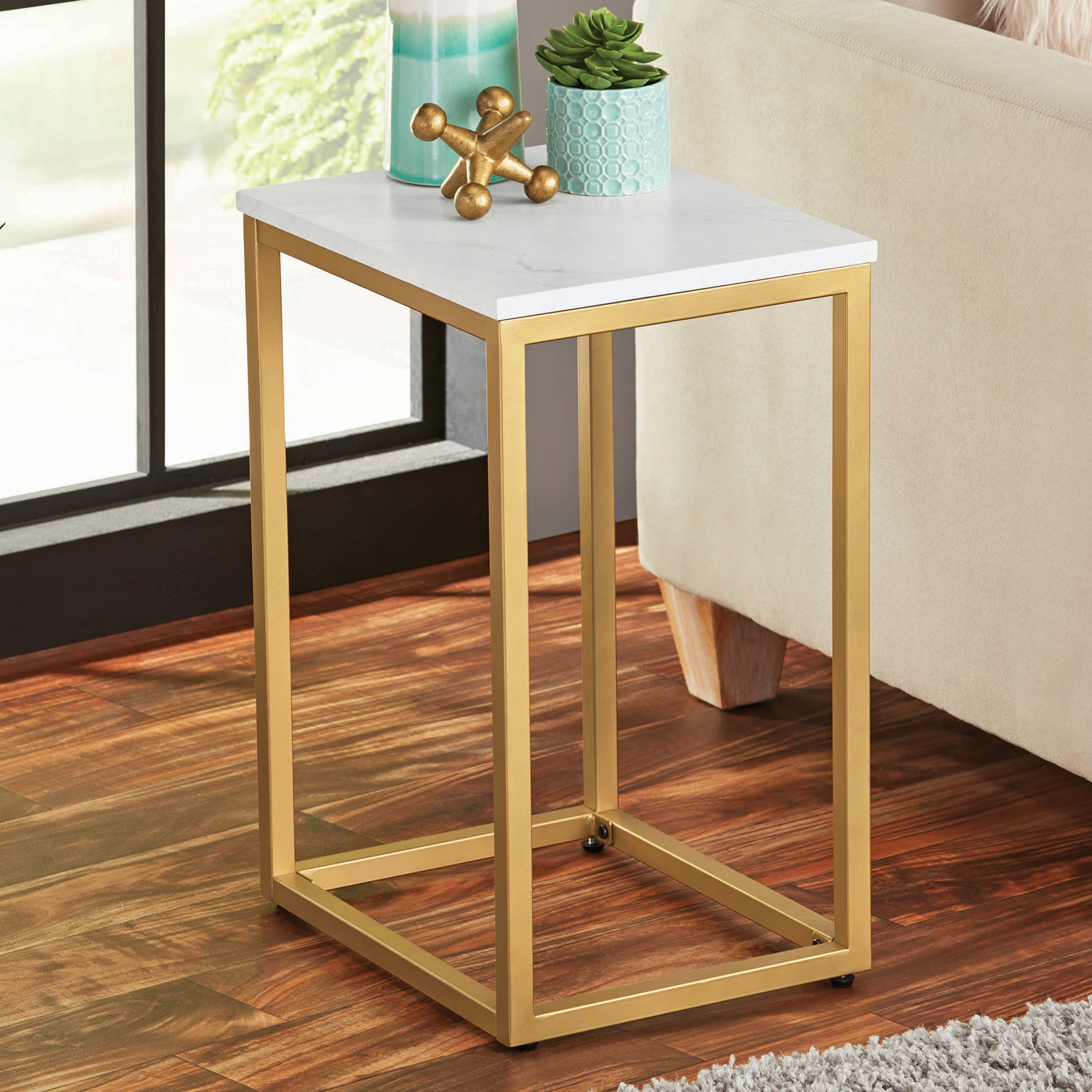 mainstays end table with space saving design and durable metal frame room essentials patio accent multiple finishes verizon free tablet small couch chairside drawers iron umbrella
