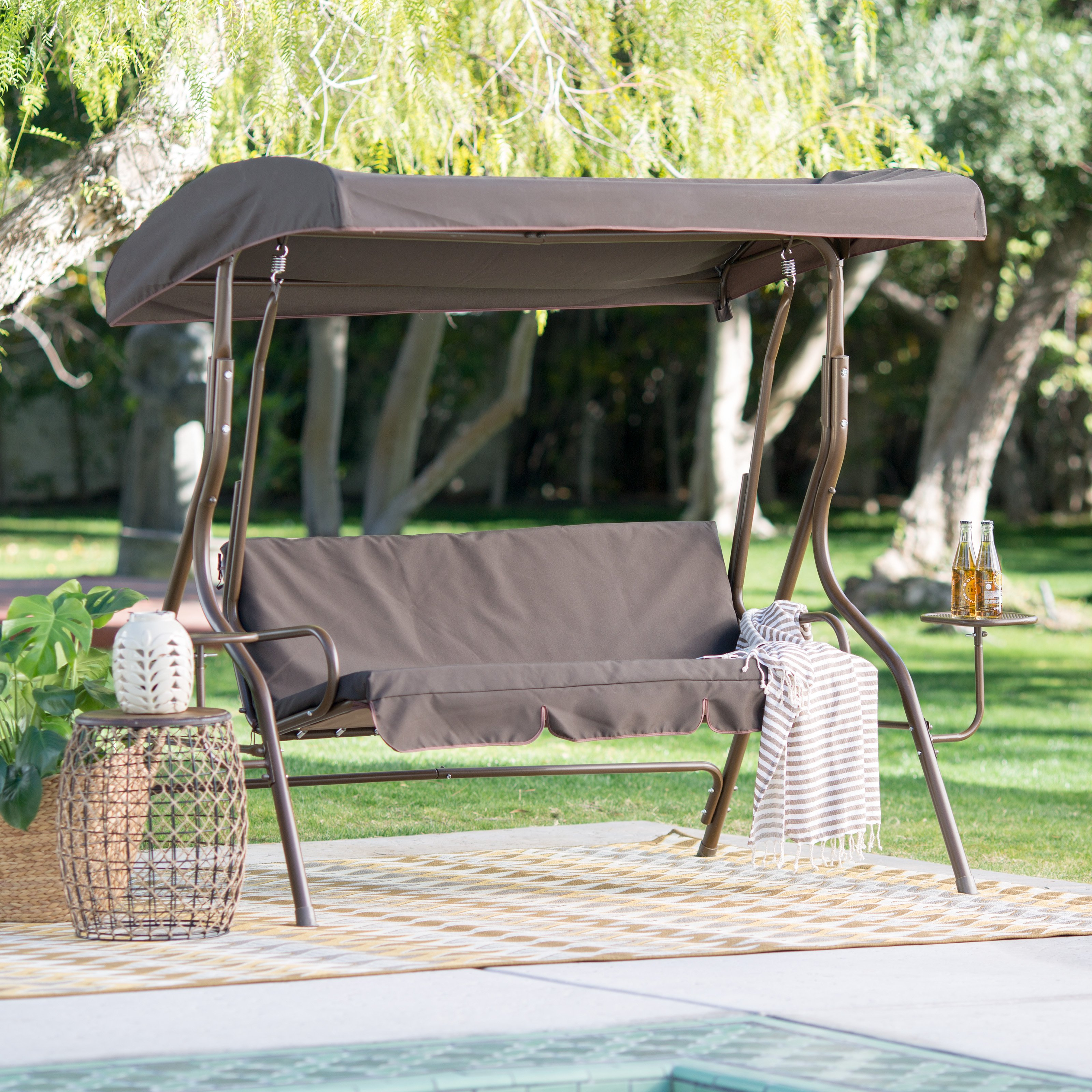 mainstays forest hills person porch swing frame set with canopy master patio center console table cover canadian tire quality rattan chair large sliding doors brown wicker outdoor