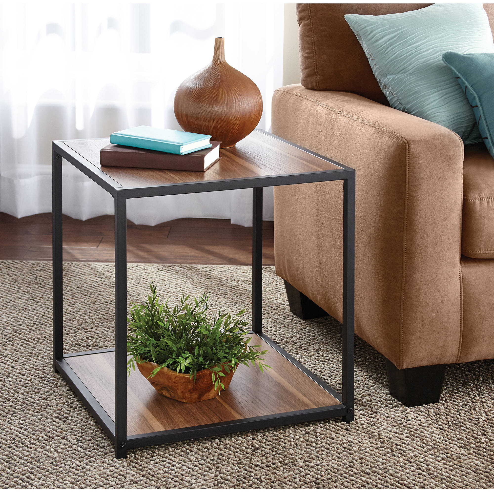 mainstays metro side table multiple finishes room essentials metal patio accent cast aluminum set mustard rug clear lucite desk home goods runners exterior miniature lamps antique