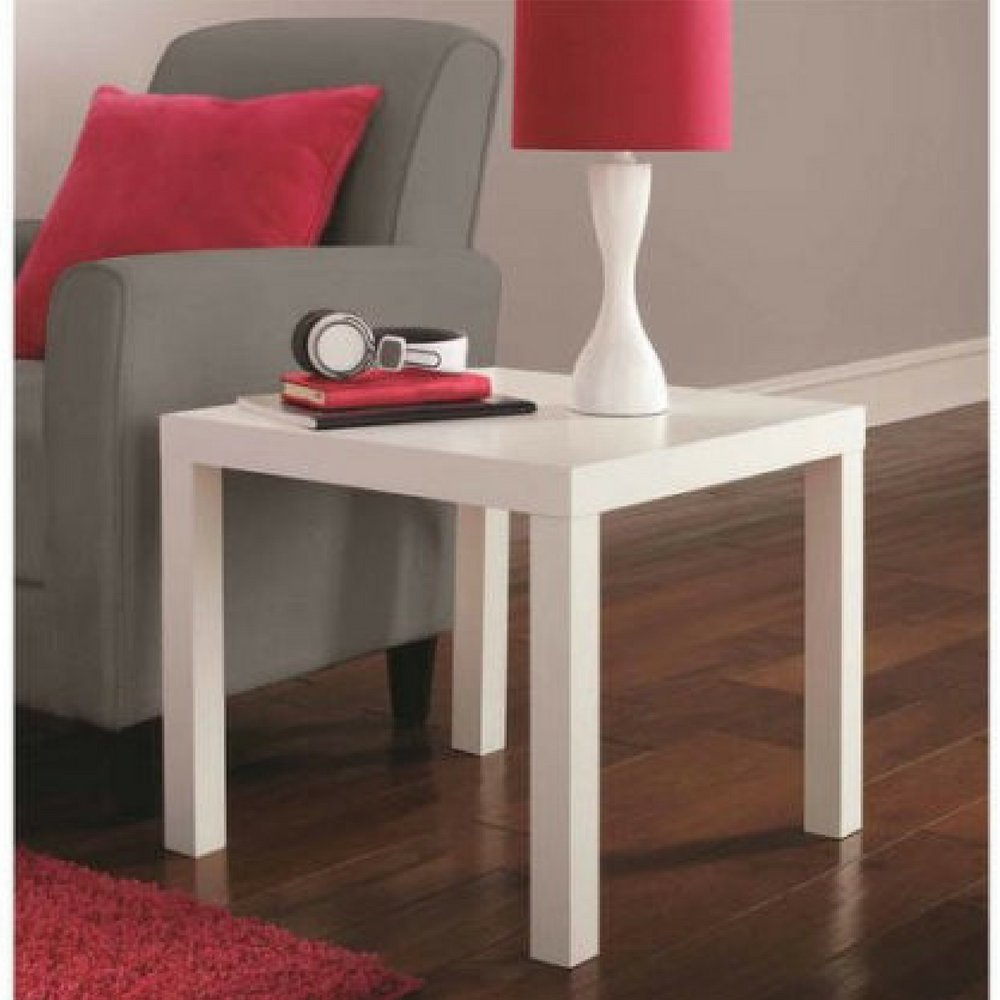 mainstays parsons contemporary end table white kitchen accent marble dining acrylic low glass side cool lamps modern decorative furniture legs mirror living room target solid oak