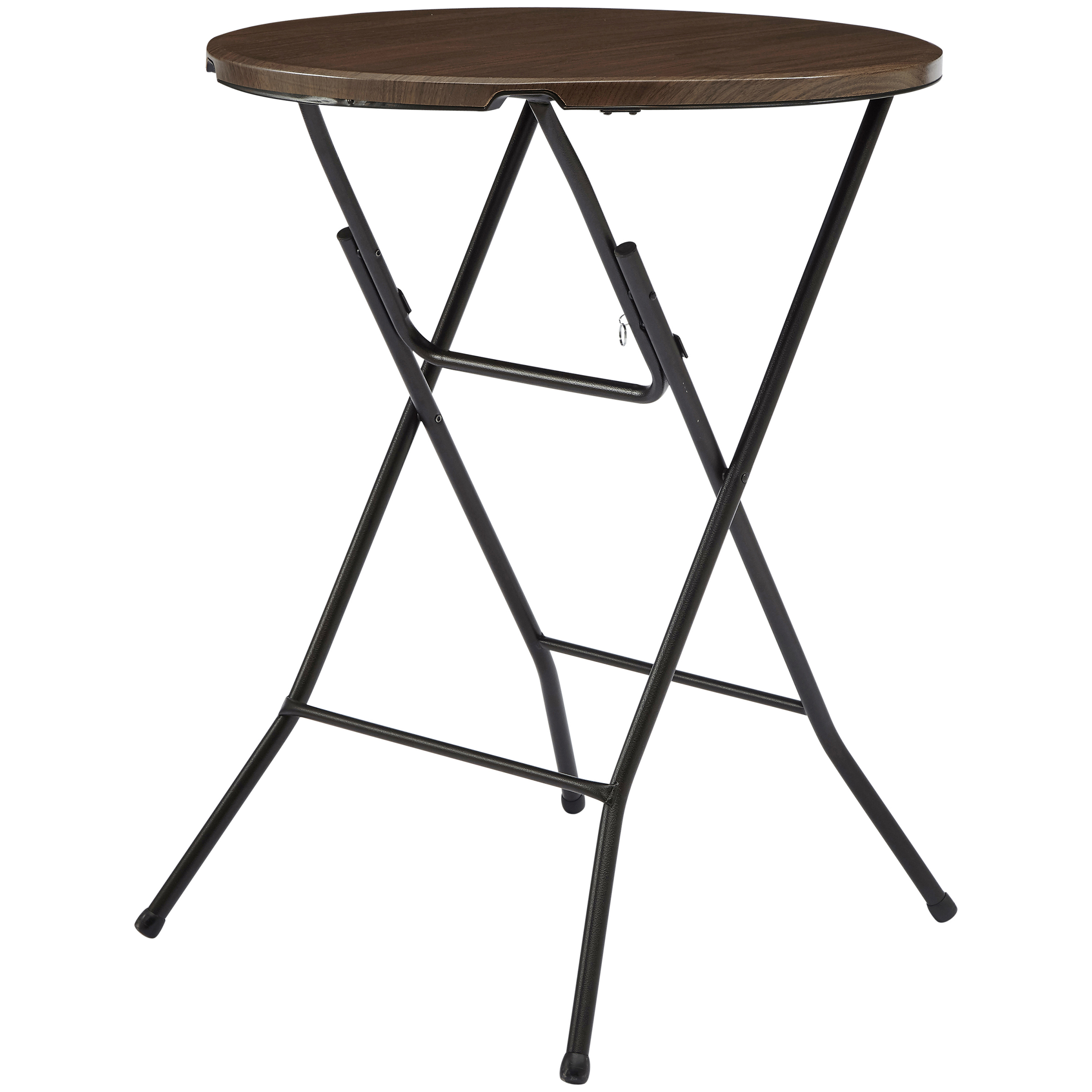 mainstays round high top folding table walnut bar height accent half circle wall black distressed side dining chairs room dark blue coffee plexi acrylic drop leaf dinette sets