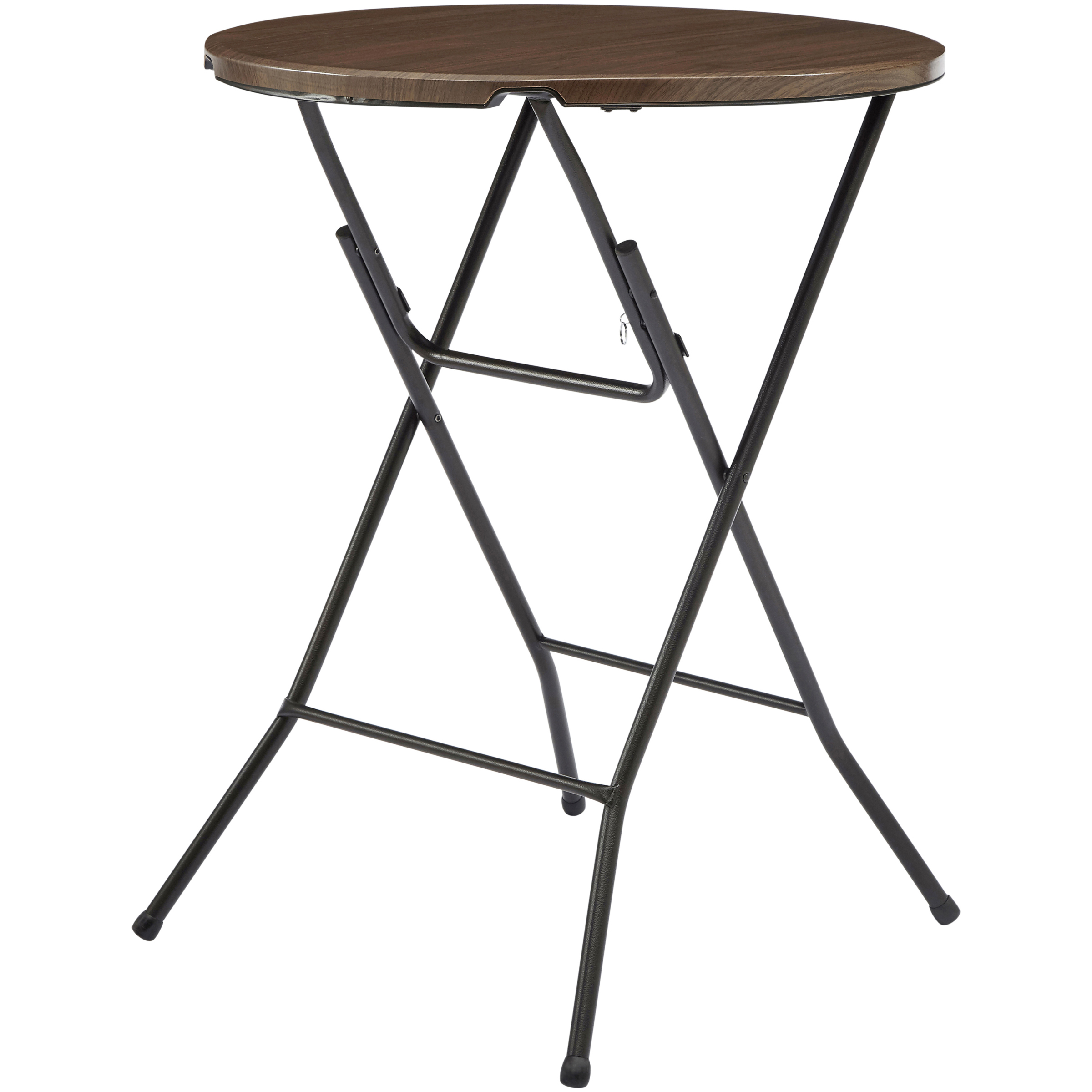 mainstays round high top folding table walnut low height accent wrought iron patio furniture battery pack for lamp chest entryway wooden side pub outdoor serving with storage