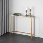 mainstays tempered glass and metal console table collection gold accent square end behind couch mirrored coffee set trestle dining room bohemian nursery changing unique entryway 150x150