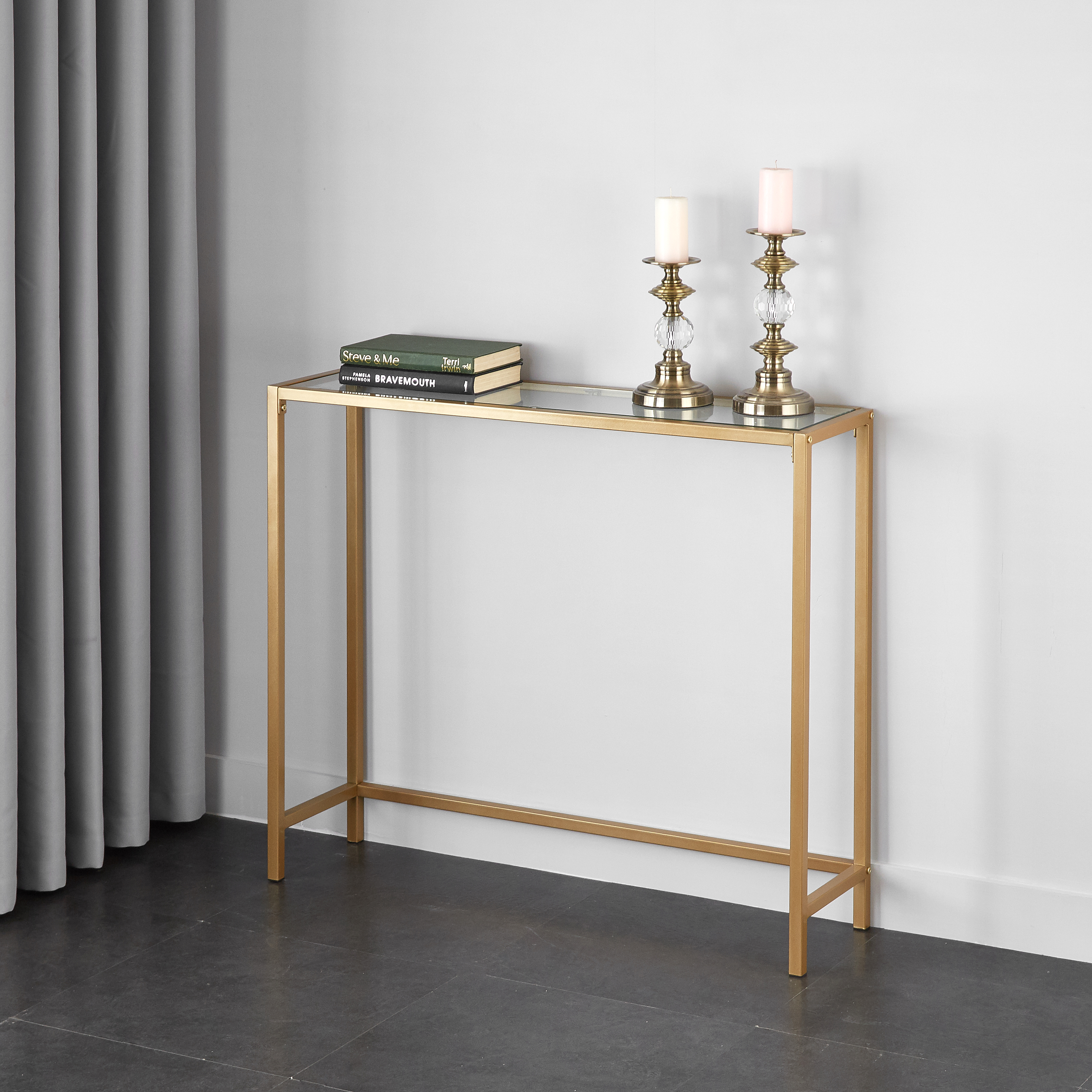 mainstays tempered glass and metal console table collection gold accent square end behind couch mirrored coffee set trestle dining room bohemian nursery changing unique entryway