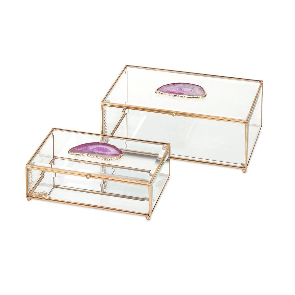 maison glass agate boxes sophisticated style with this set accent table two clear and copper decorative featuring pink accents decorations walnut coffee outside umbrella stand