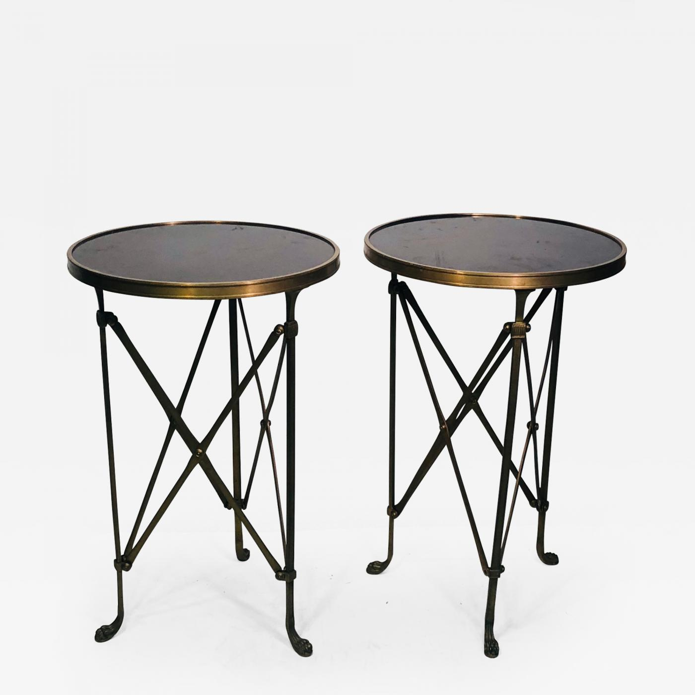 maison jansen pair side tables accent with marble tops the manner kidney shaped table listings furniture serving garden box diy hairpin legs ballard designs office outdoor wicker