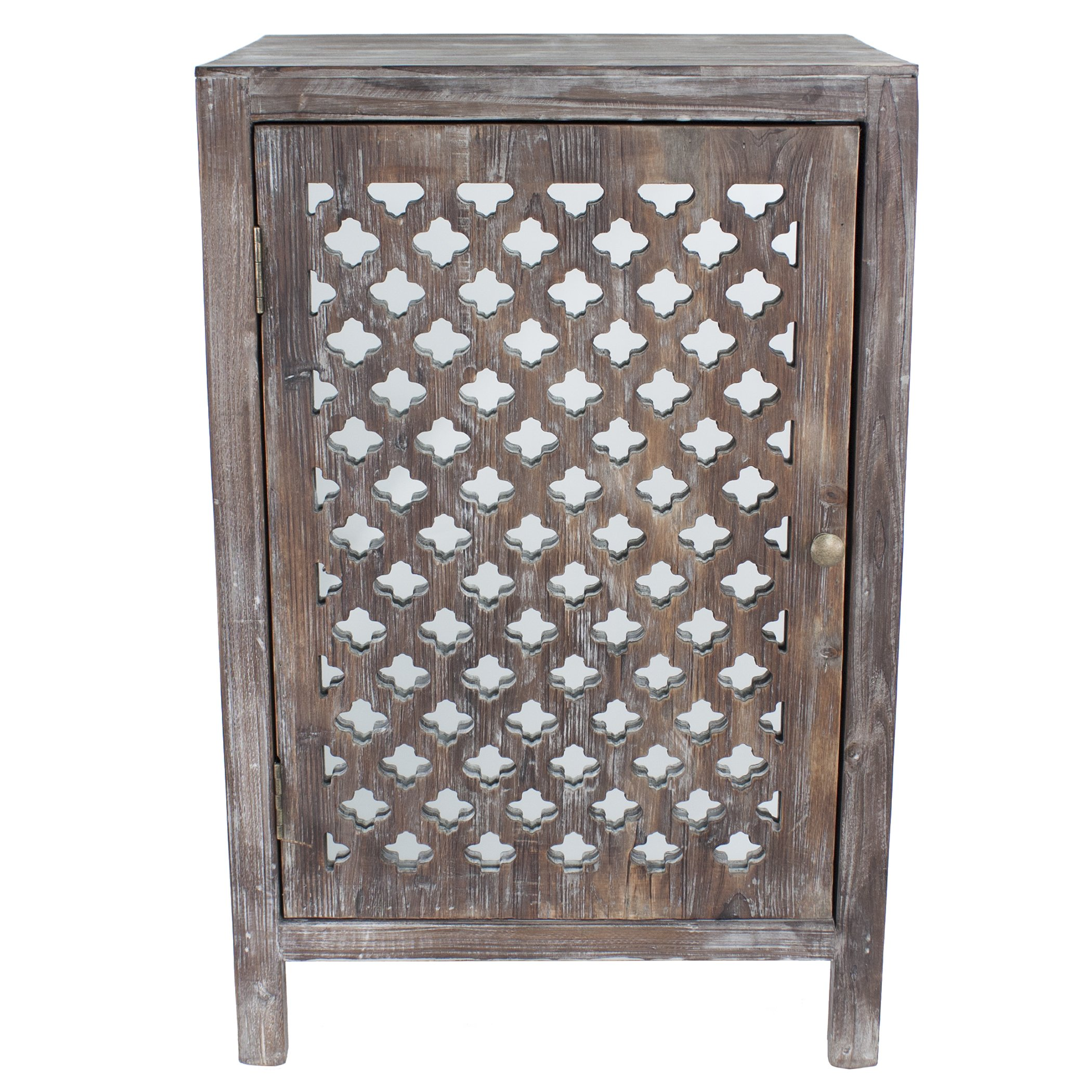 maison rouge anatole distressed grey quatrefoil end table with accent mirror free shipping orders over bedside lights door treads wooden folding outdoor coffee wide side wagon