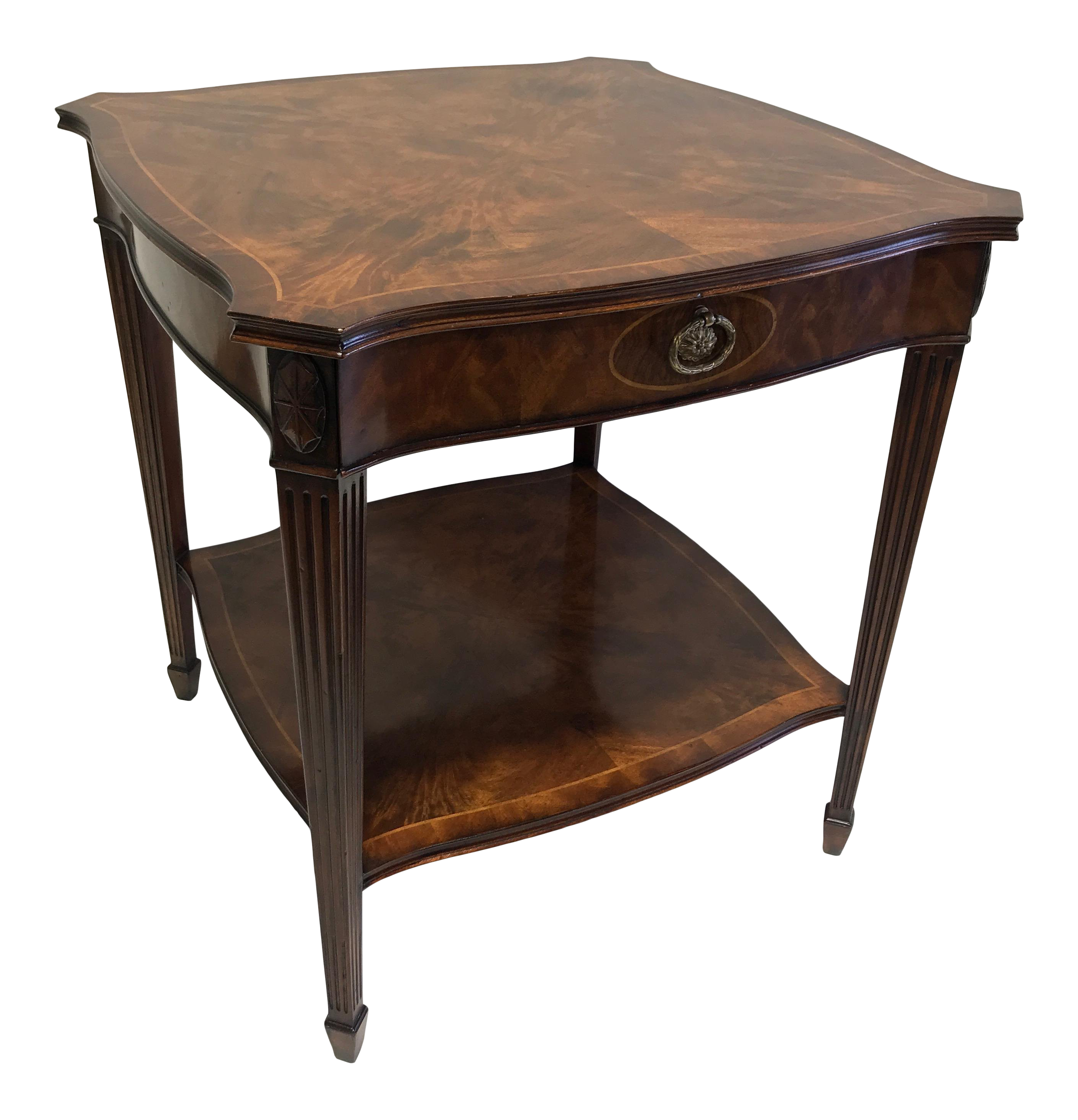 maitland smith for colony furniture aged mahogany inlaid regency end accent table wood inlay chairish dining room centerpieces wellington glass top coffee and tables side chairs