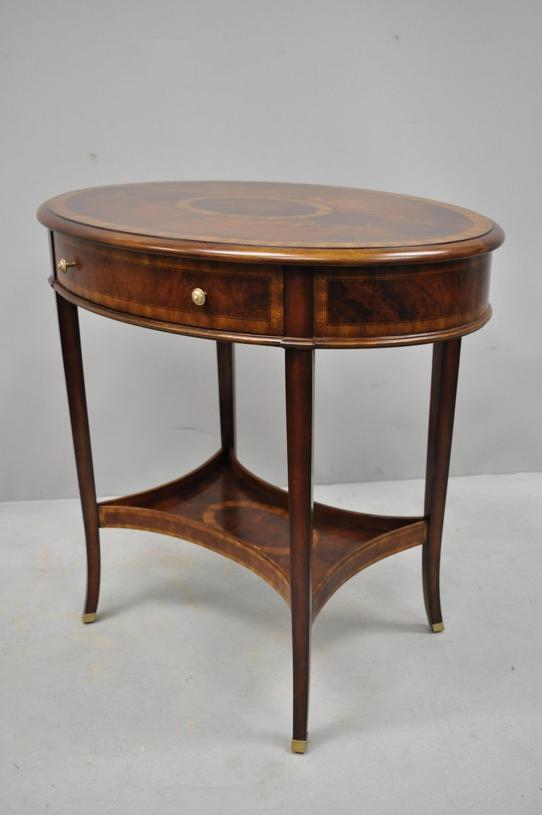 maitland smith mahogany oval inlaid one drawer occasional accent master side table with item features beautiful wood small poolside tables half moon round nightstand modern