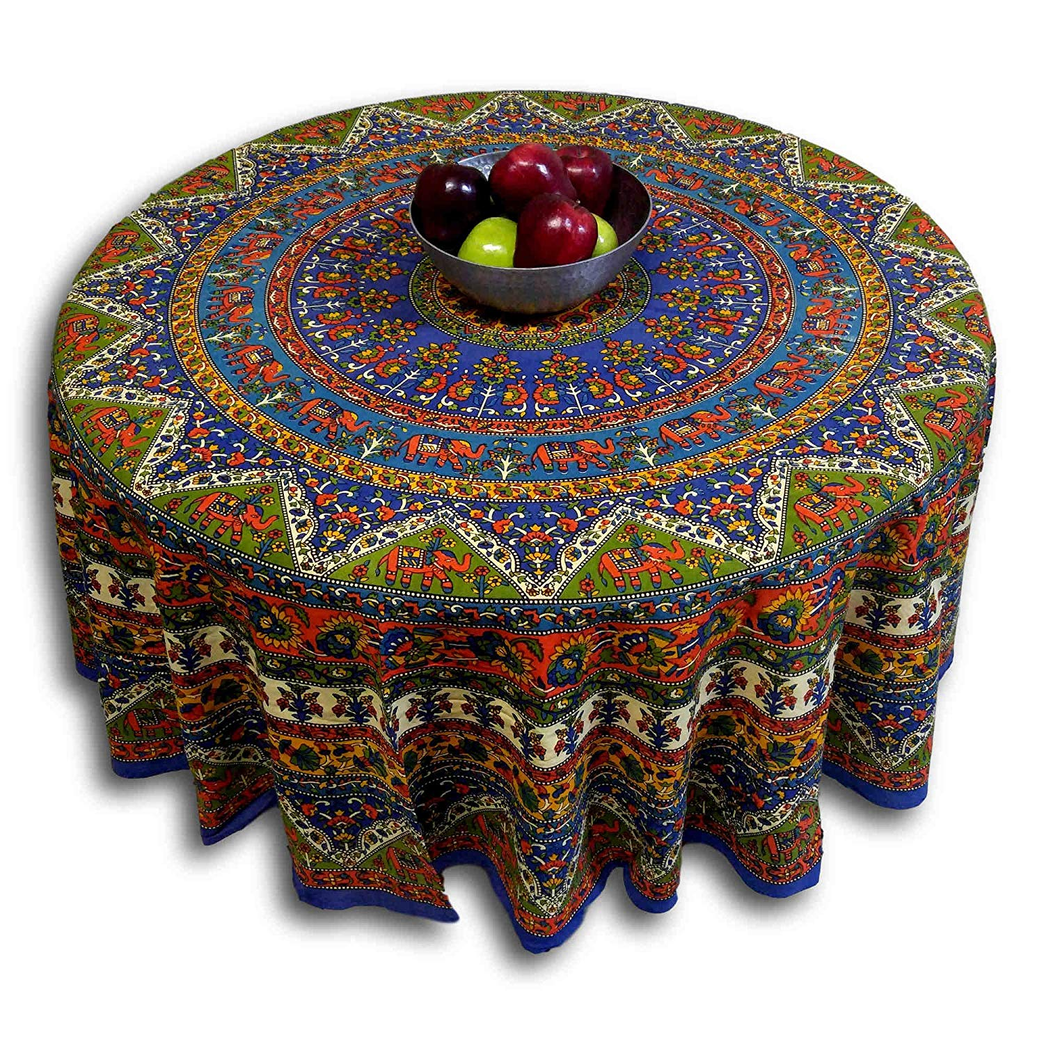 mandala print round cotton tablecloth blue accent home kitchen ikea living room furniture runner rugs farmhouse door very narrow end table distressed wood coffee glass lamp shades