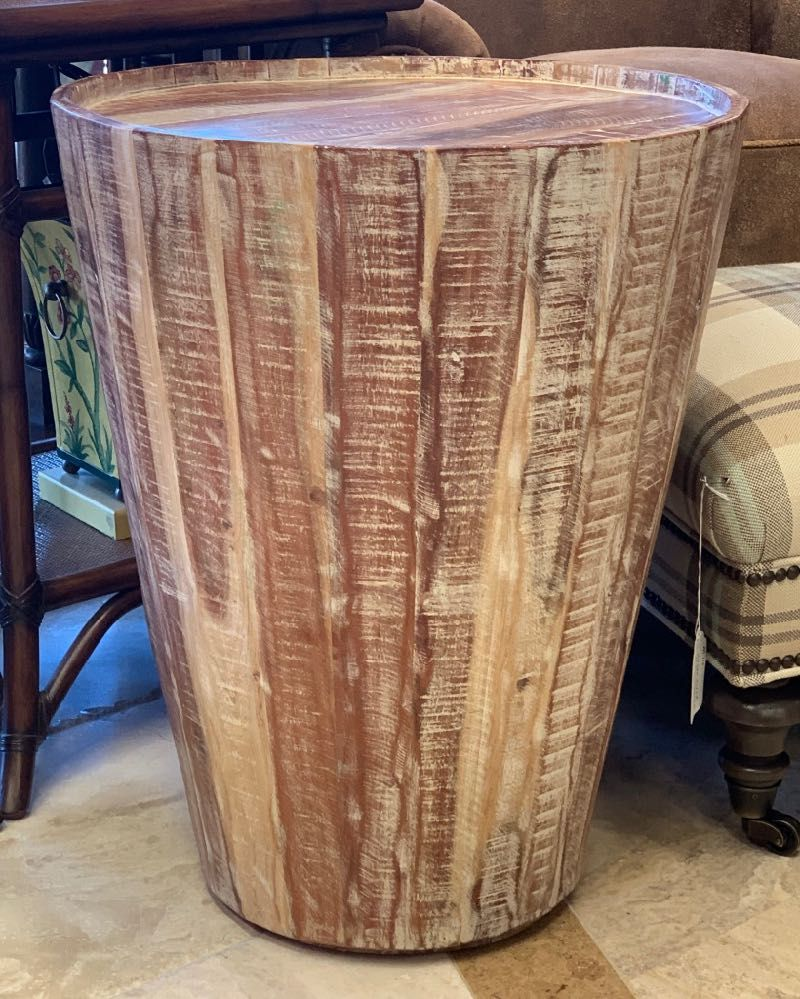 mango cool accent table made exotic wood the conical drum shaped shape and unusual texture make this perfect compliment coastal west target yellow side elm parsons coffee light