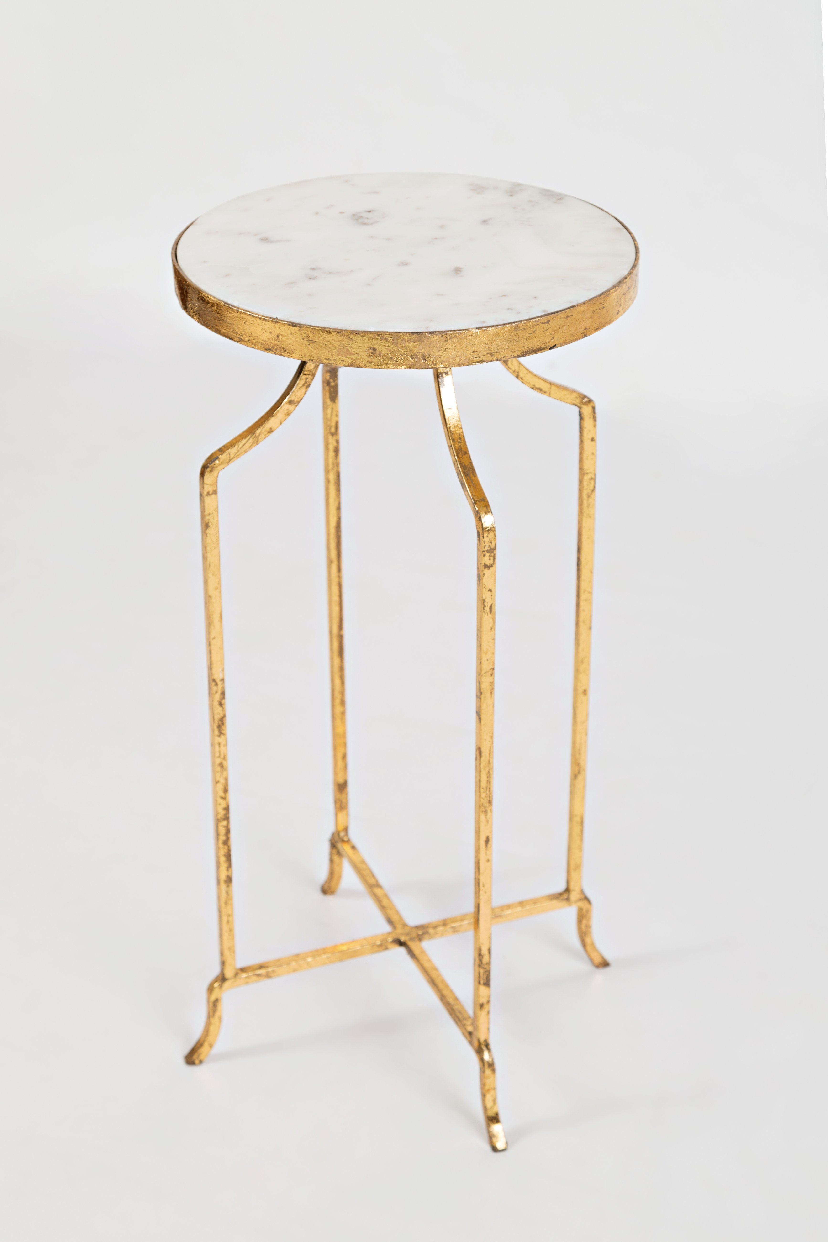 marble and gold round accent table with angled metal feet products garden only steel furniture legs tiffany stained glass chairs under extendable trestle dining side set mirror