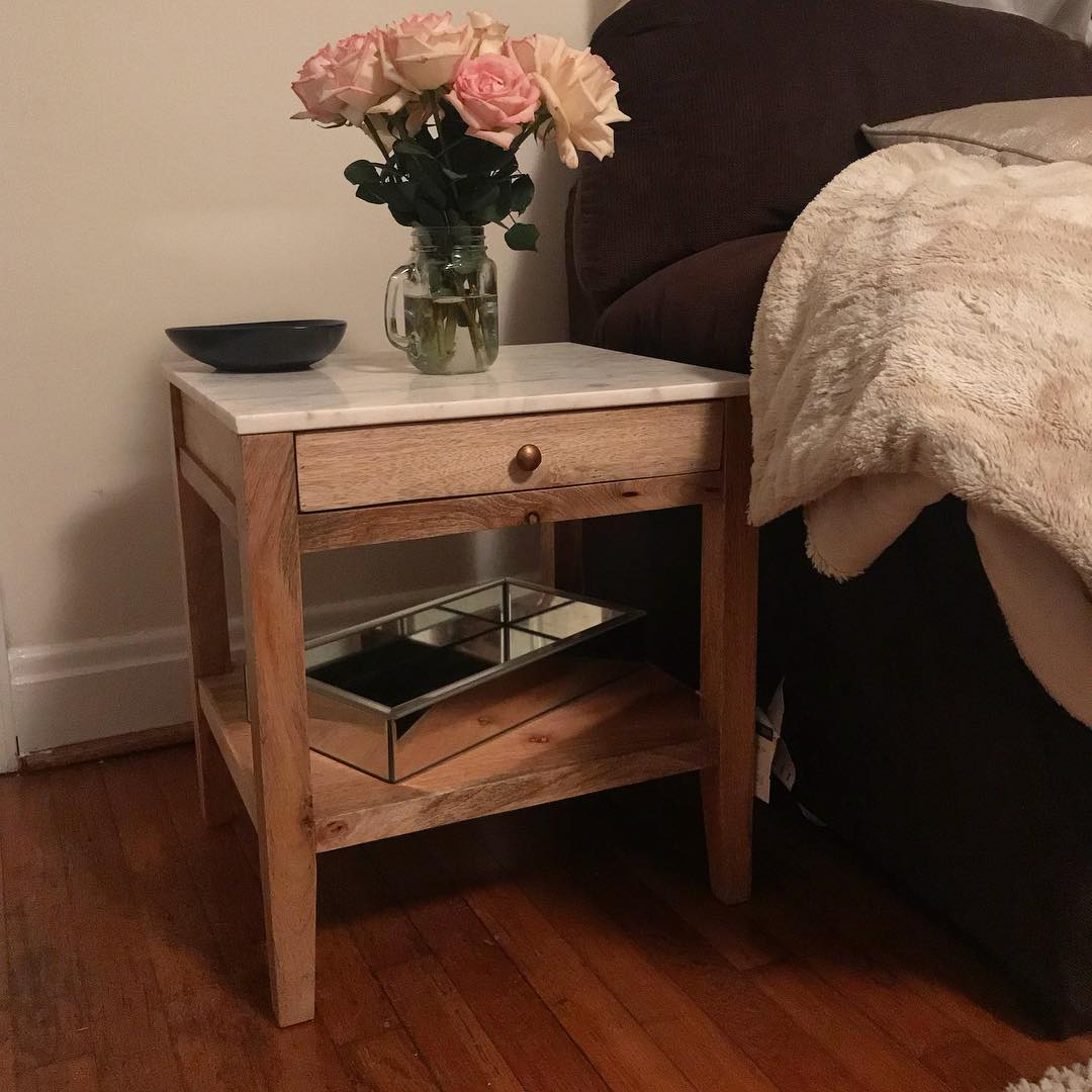 marble and wood one drawer accent table threshold target finds hillary sheaff pottery barn metal alexa smart home devices miniature rocking chair garden chairs small pedestal end