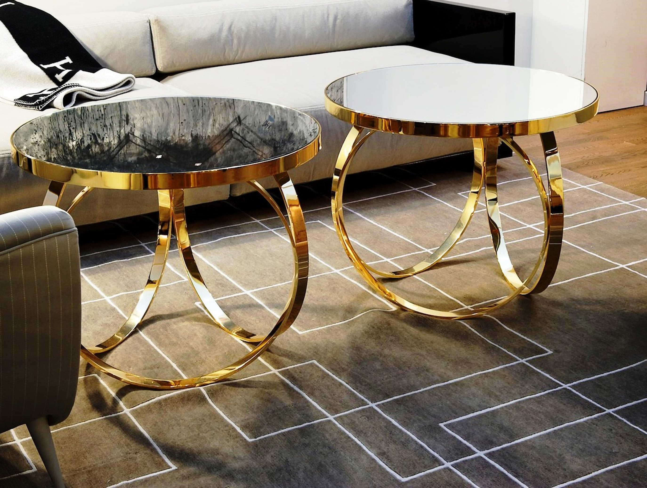 Marble Chrome Coffee Table Glass And Oval Gold Geometric Side
