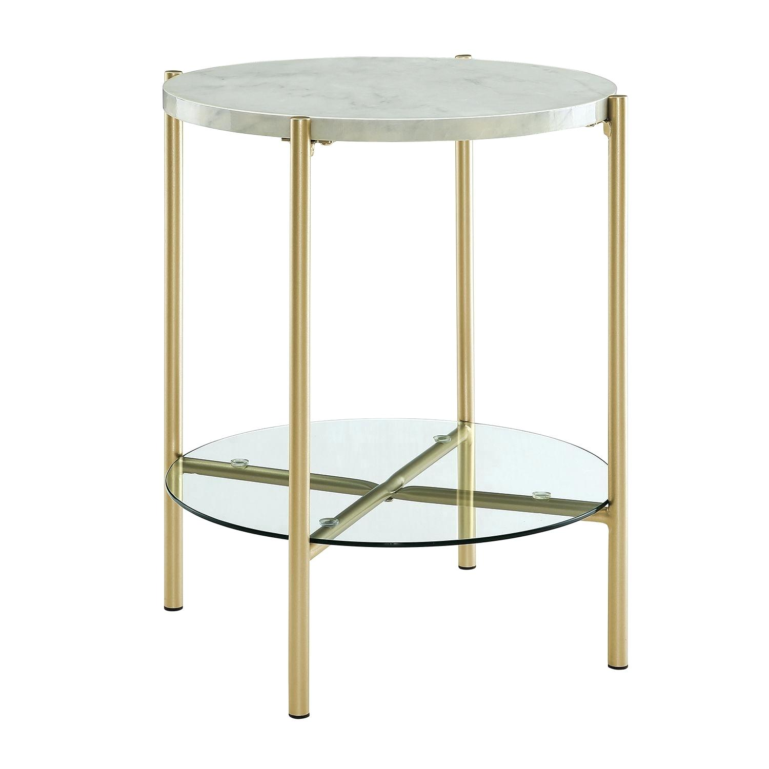 marble gold side table wearemark round white faux with glass shelf pier imports top rose mosaic accent outdoor inch wide pub dining set one wall decor pottery barn coffee little