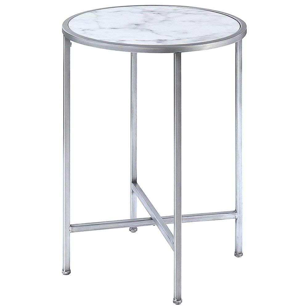 marble hallway find line white top accent table get quotations end faux topped silver metallic base sturdy tabletop minimal small folding black and decorations brass legs for