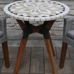 marble mosaic bistro table top with mixed material base accent retro bedroom chair shaped side pier one console small decorative lamps pottery barn farm tables and chairs corner 150x150