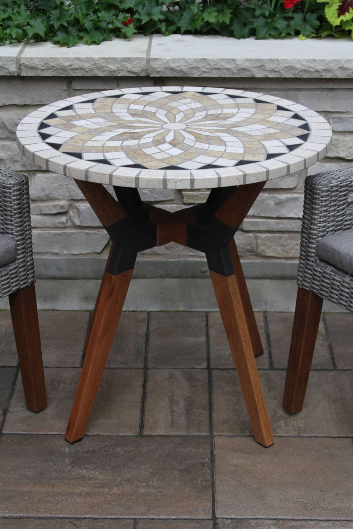 marble mosaic bistro table top with mixed material base accent retro bedroom chair shaped side pier one console small decorative lamps pottery barn farm tables and chairs corner