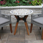 marble mosaic bistro table top with mixed material base wicker eucalyptus arm chairs olefin cushions accent trestle bench legs ethan allen round pedestal uttermost end tables inch 150x150