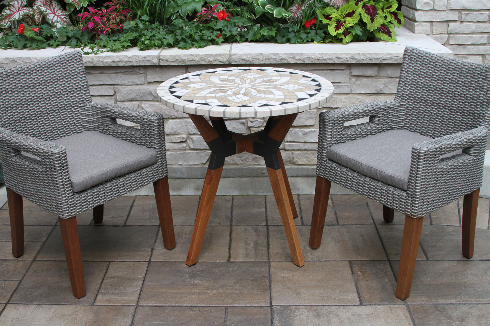 marble mosaic bistro table top with mixed material base wicker eucalyptus arm chairs olefin cushions accent trestle bench legs ethan allen round pedestal uttermost end tables inch