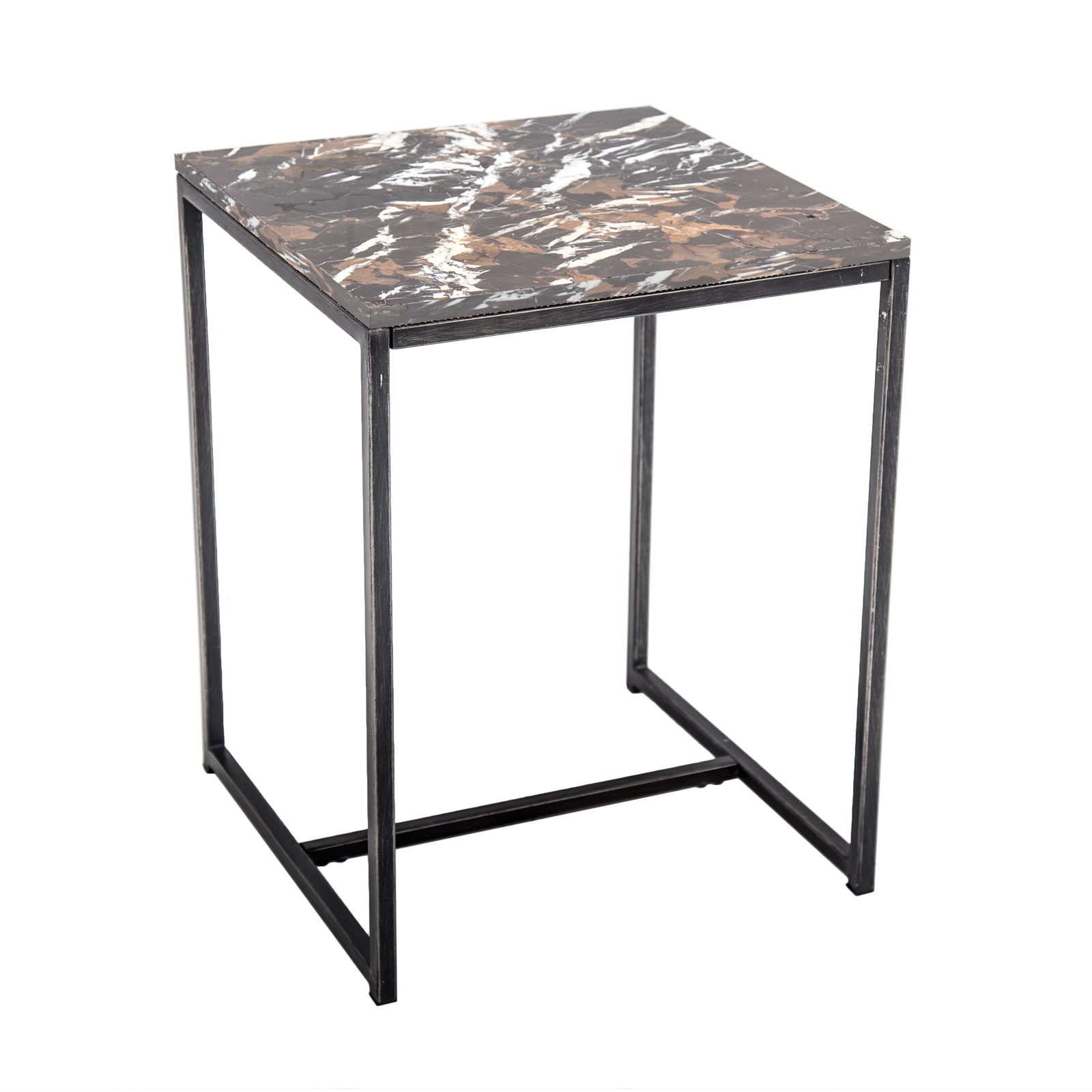 marble side table rentals furniture rental delivery formdecor marbre brown outdoor black small triangle corner ellipsis dark coffee set hammered metal rustic wooden trestle wood