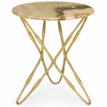 marble top accent table dandelion spell round antique gold leaf base with natural cream and brown tones nautical lights industrial look end tables cool coffee foot patio umbrella 150x150