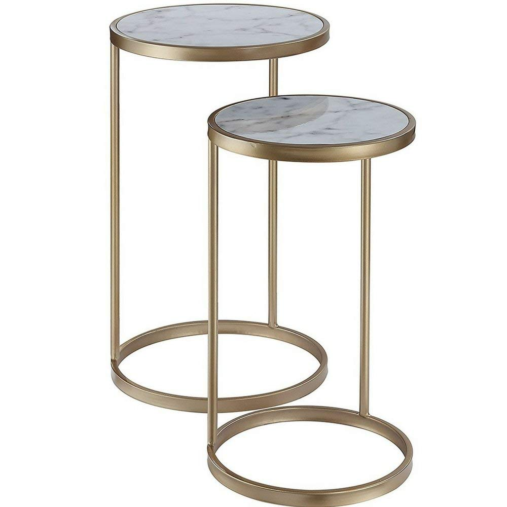 marble top accent tables find gold table with get quotations end set nesting white side faux trestle round coffee seater dining cover diy sliding door rustic chairs ikea and