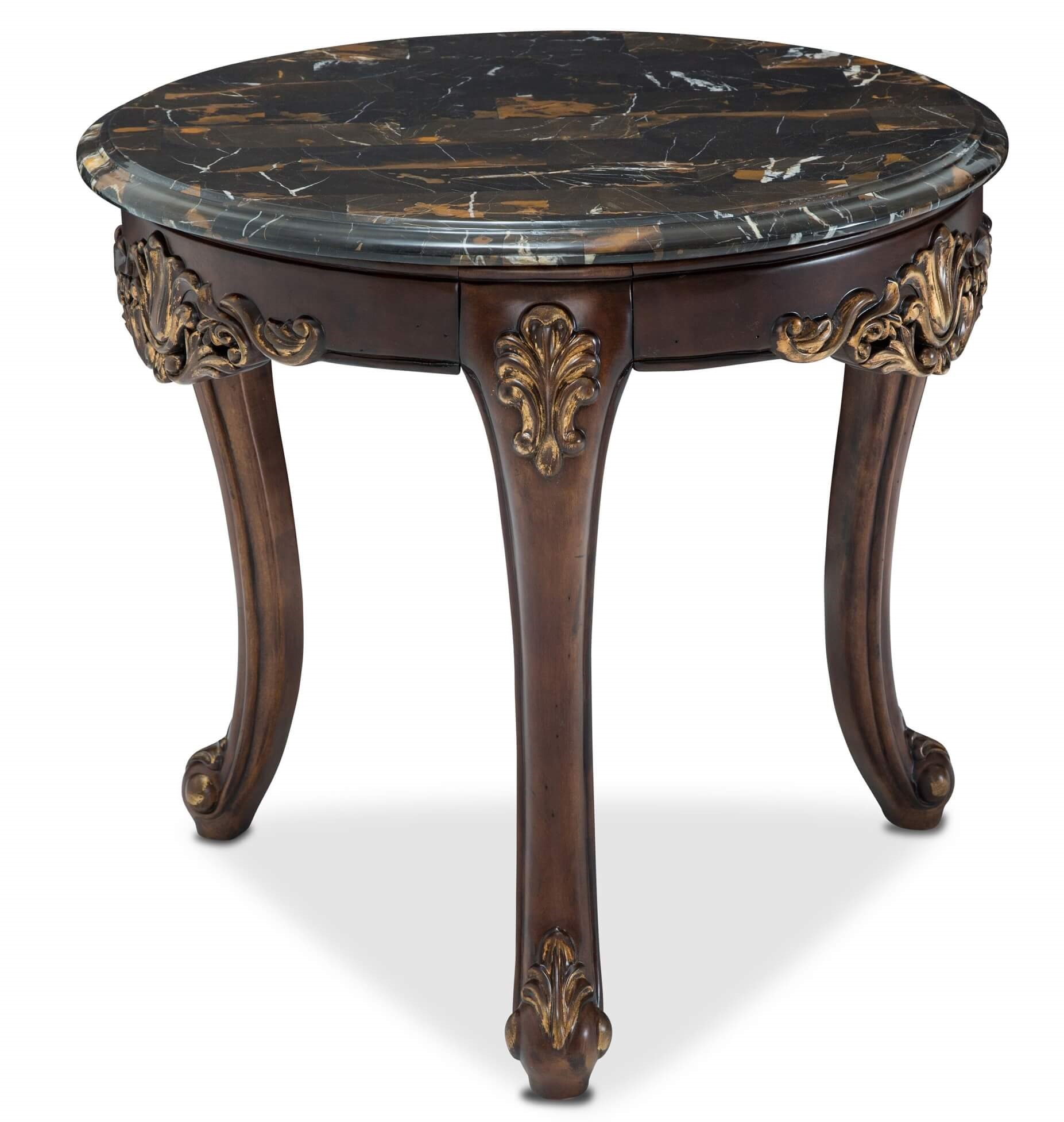marble top end tables house design french accent table aico villa como round portobello finish nate berkus gold with black umbrella base wood leg extenders drum throne pearl oval