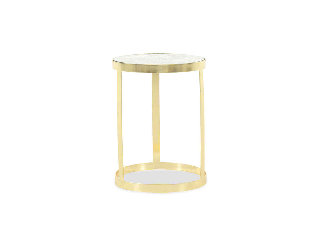 marble top traditional accent table gold mathis brothers furniture pul atop the base earthy with bamboo inspired texture complement shining making this irresistible piece wood and