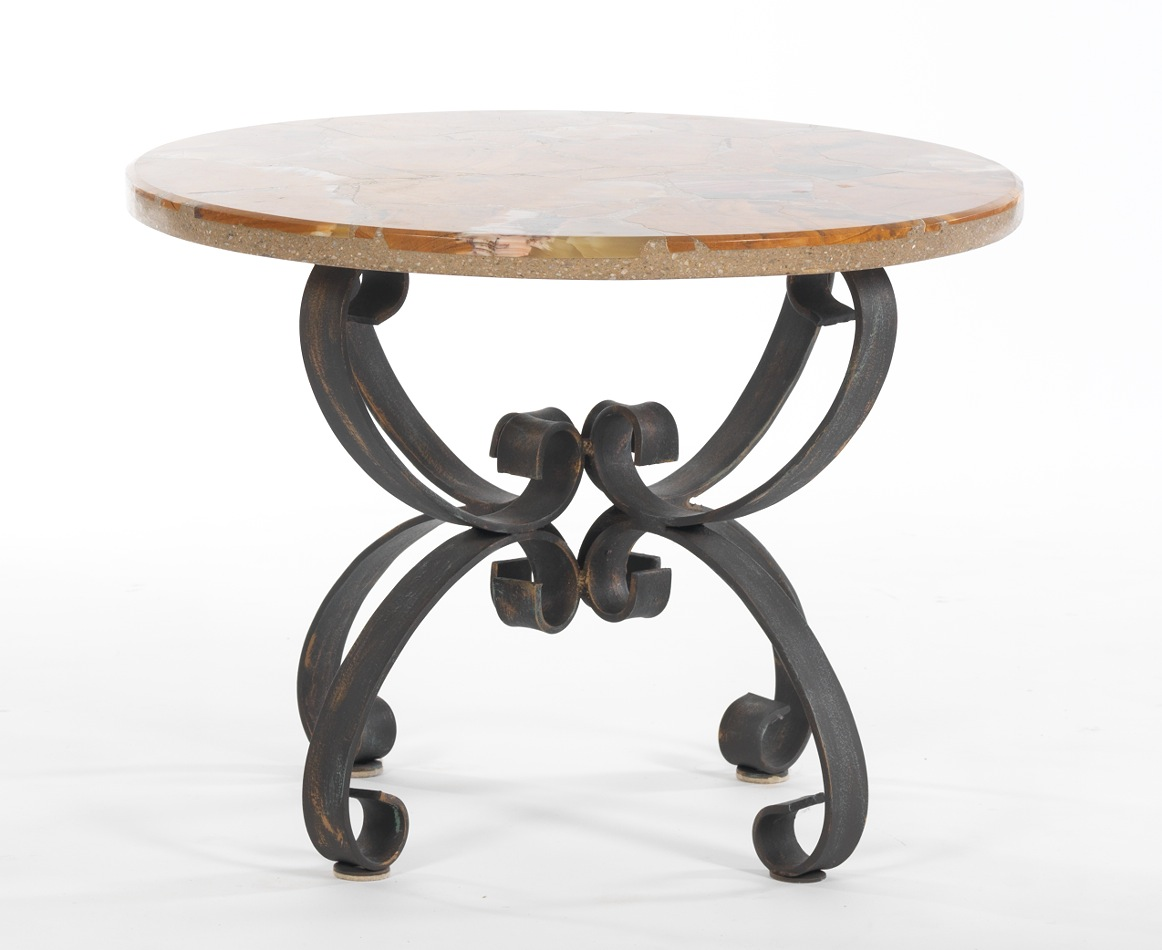 marble top wrought iron base accent table nesting tables round glass concrete look nested furniture garden coffee set chest broyhill side with usb gold metal comfy patio deck