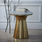 marble topped pedestal side table west elm media accent oversized sectionals super slim console williams sonoma floor lamp end cabinet diy rustic coffee cupboard tall modern lamps 150x150