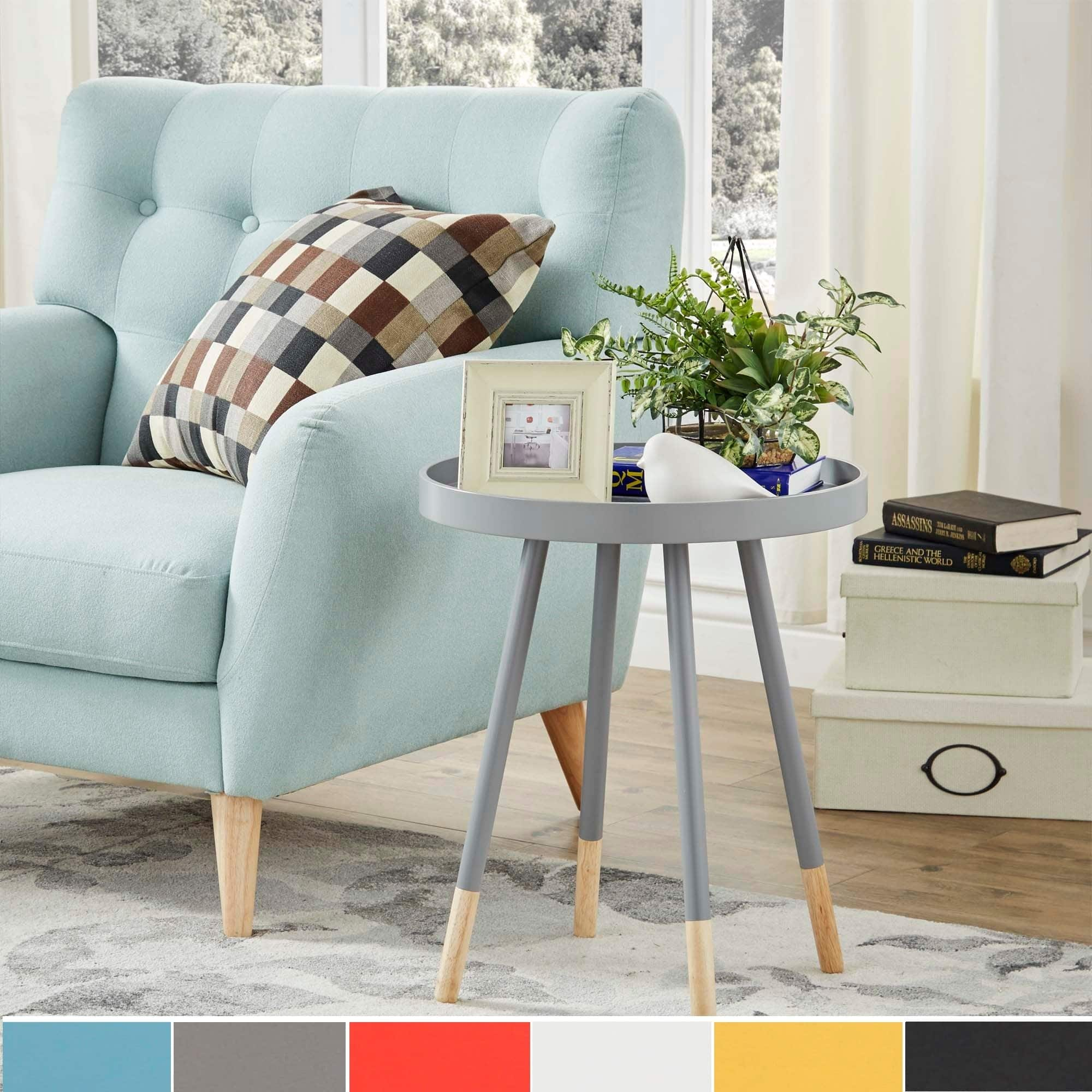 marcella paint dipped round spindle tray top side table inspire modern painted wood accent pottery lamps outdoor battery large bedside tables piece glass set white and chairs