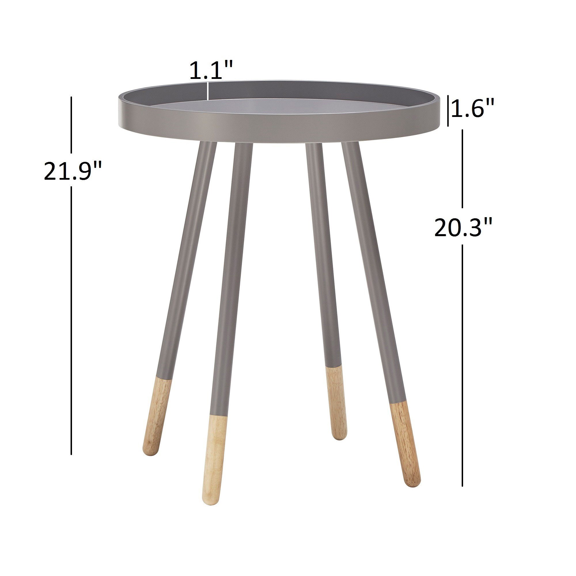 marcella paint dipped round spindle tray top side table inspire modern wood accent free shipping today office wall cabinets pair lamps three piece agate marble look dining coffee