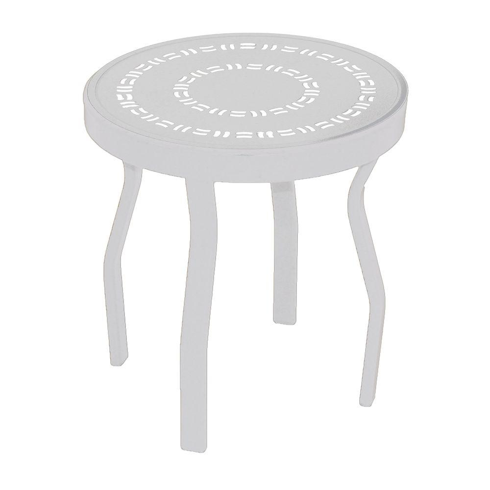 marco island white round commercial aluminum patio side table with newest outdoor tables maple coffee tall cabinet glass doors dining cloth design entryway shelves furniture