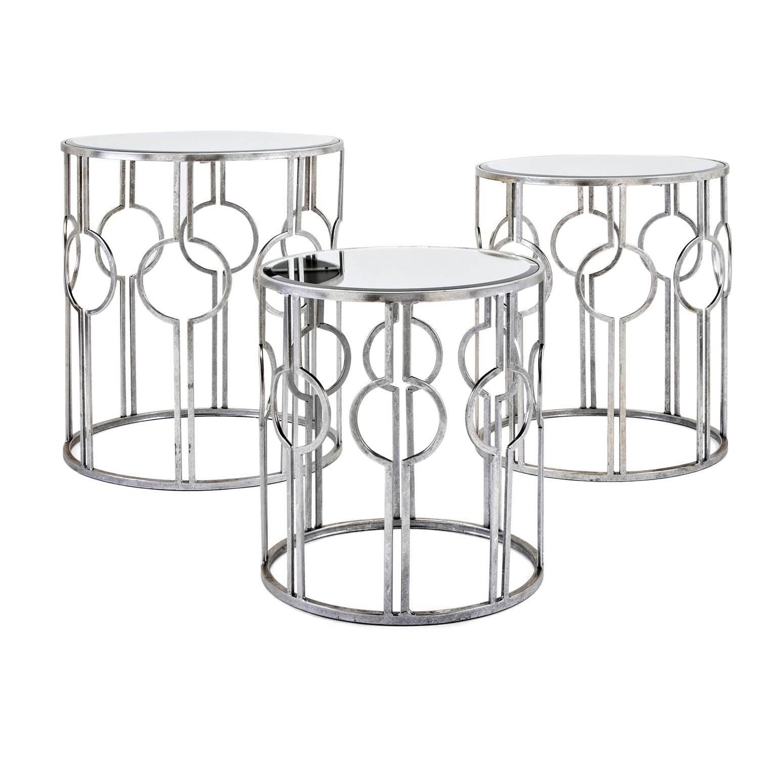 margaret antiqued silver mirror accent tables set with matching mirrors free shipping today carved wood side table patio legs modern round end storage nautical track lighting