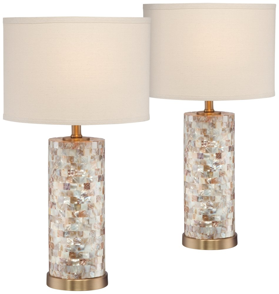 margaret mother pearl tile accent table lamp set glass lamps safavieh coffee pottery barn black half moon hall dale tiffany hanging tool cabinet mosaic kitchen folding nesting