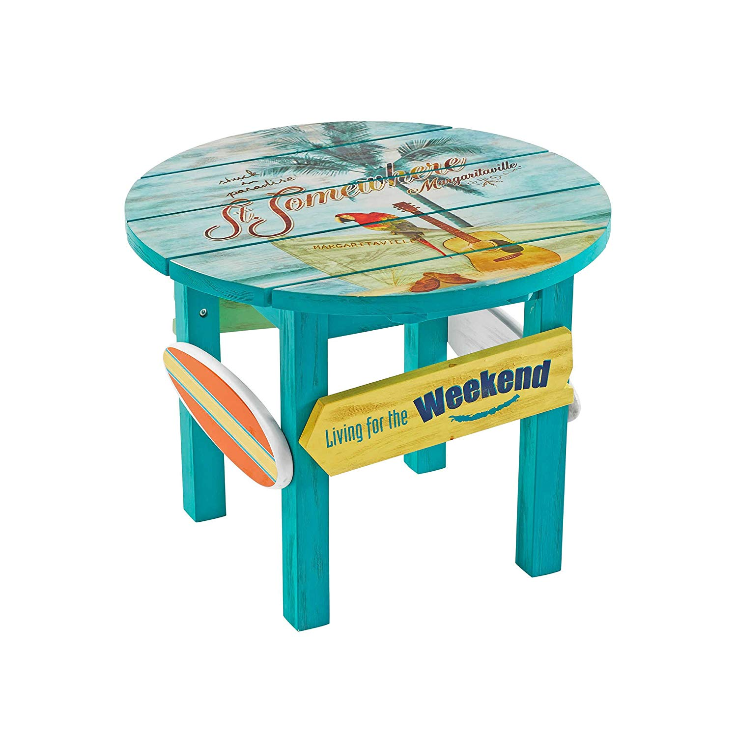 margaritaville outdoor classic wood round side table blue garden antique mosaic safavieh brogen accent ethan allen ladder back chairs nate berkus furniture best drum throne pier