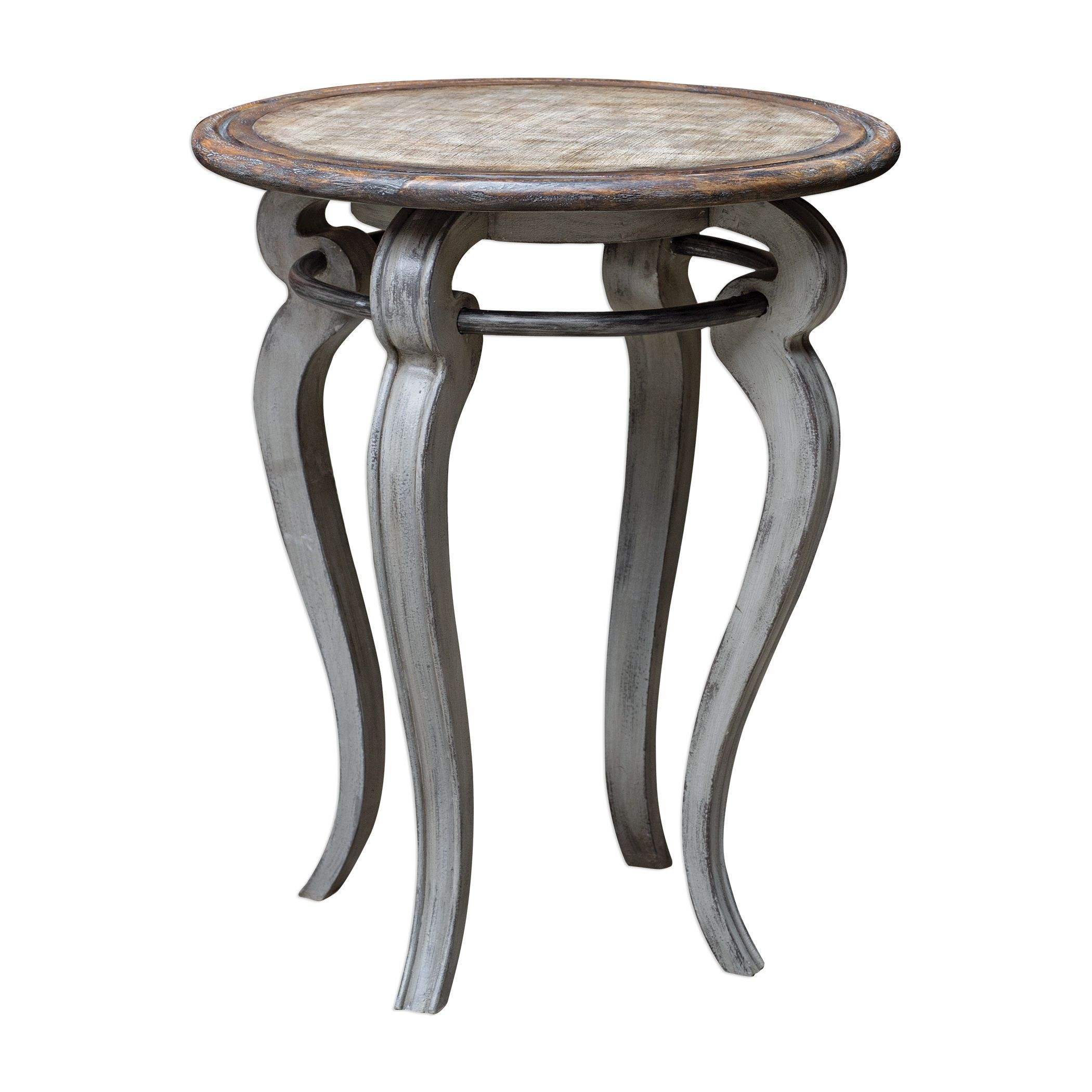 mariah transitional distressed round gray accent table uttermost tile patio outdoor furniture screw legs hardware teal living room accessories and white coffee with drawer tiffany