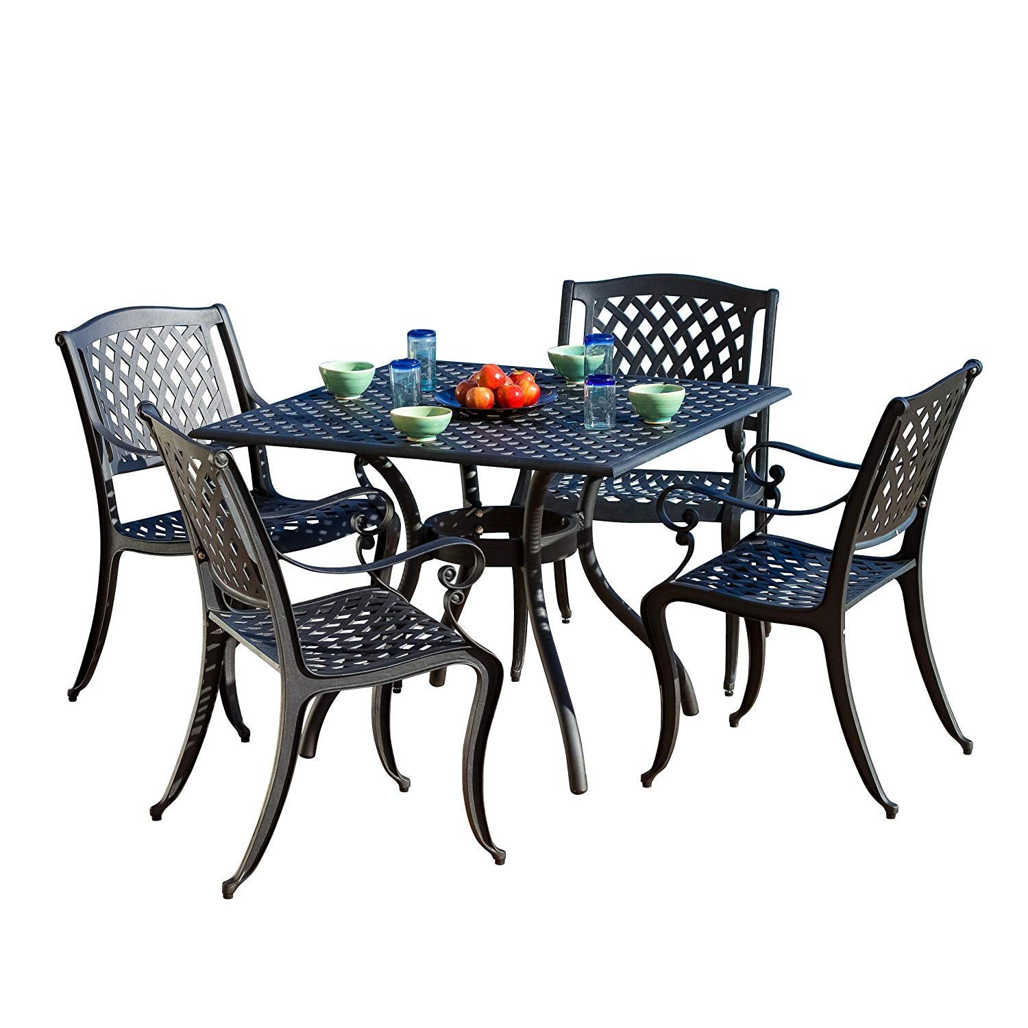 marietta outdoor furniture dining set cast aluminum harrietta piece accent table and chairs for patio deck garden ashley home glass top coffee wide threshold wood side tables