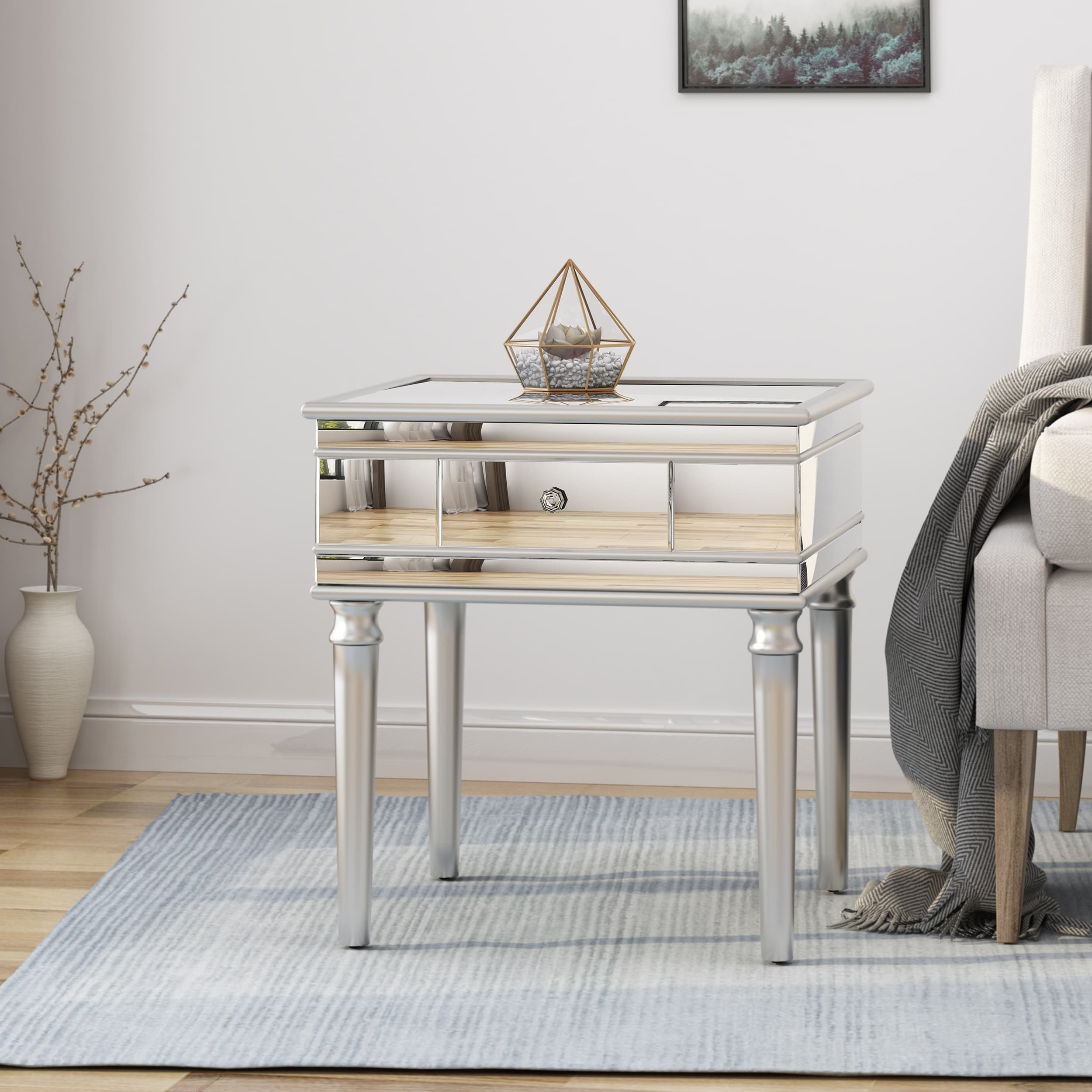 marinette modern tempered glass mirrored accent table with drawer christopher knight home free shipping today tray top side high legs drop leaf magnussen end sheesham wood console
