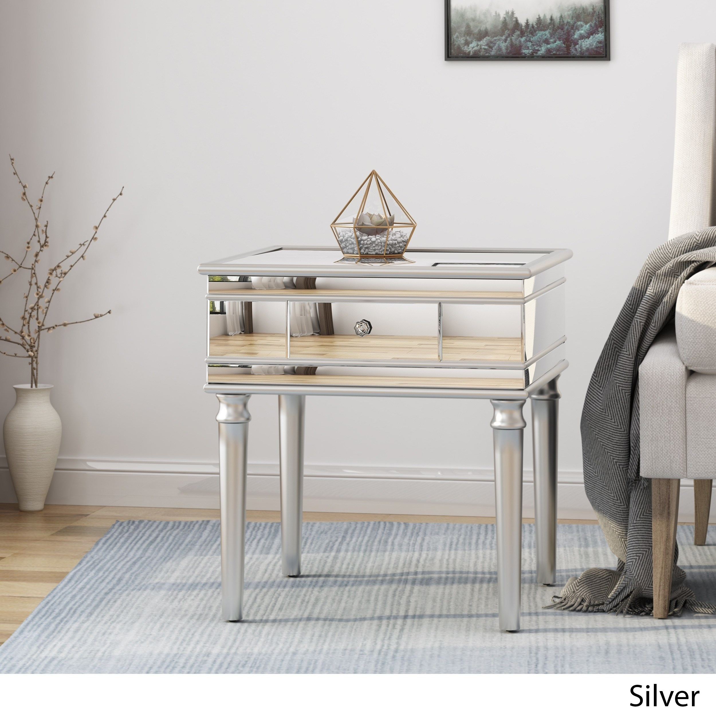 marinette modern tempered glass mirrored accent table with drawer christopher knight home silver gray free shipping today target small kitchen coastal decor lamps side legs seat