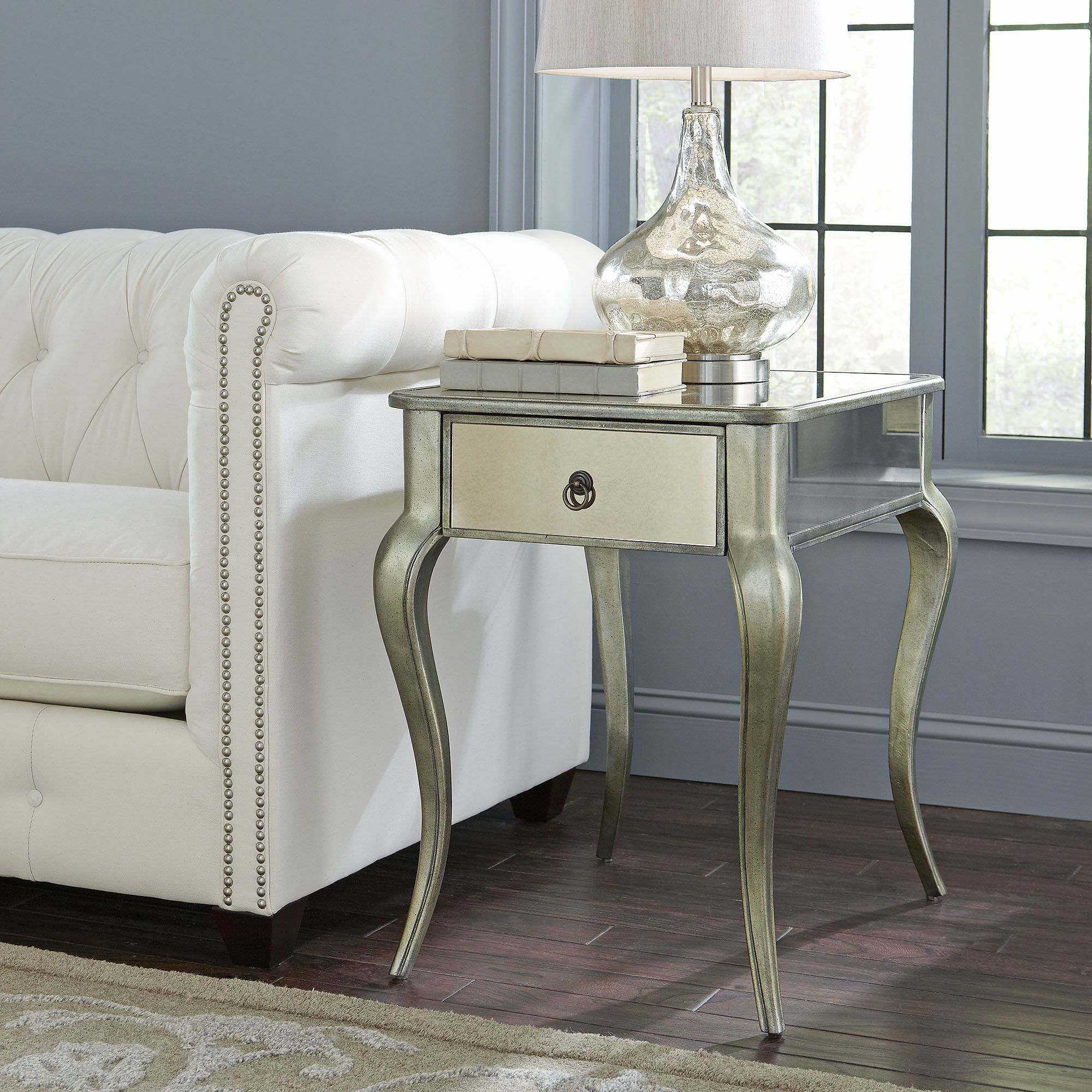 marissa mirrored side table living room ideas small accent tables under round brass and glass coffee fruit cocktail recipe antique dining wood unfinished desk legs chippendale