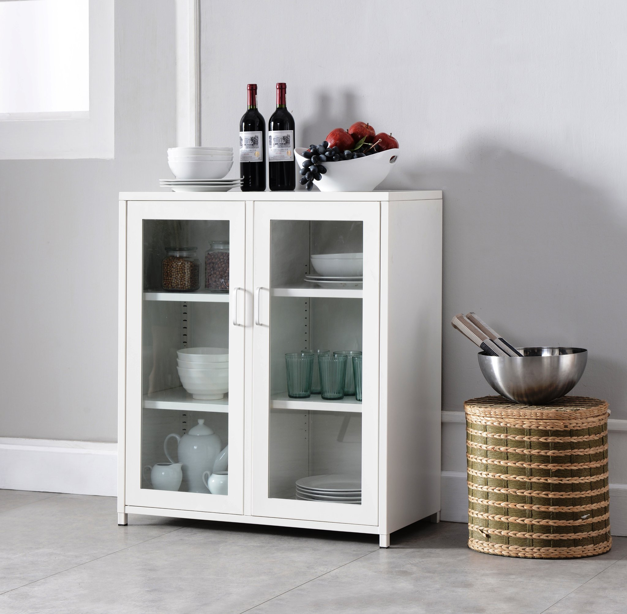 markle white iron transitional kitchen storage accent cabinet buffet table with glass doors shelves wood dining room and chairs best drum seat pier one wicker furniture vintage