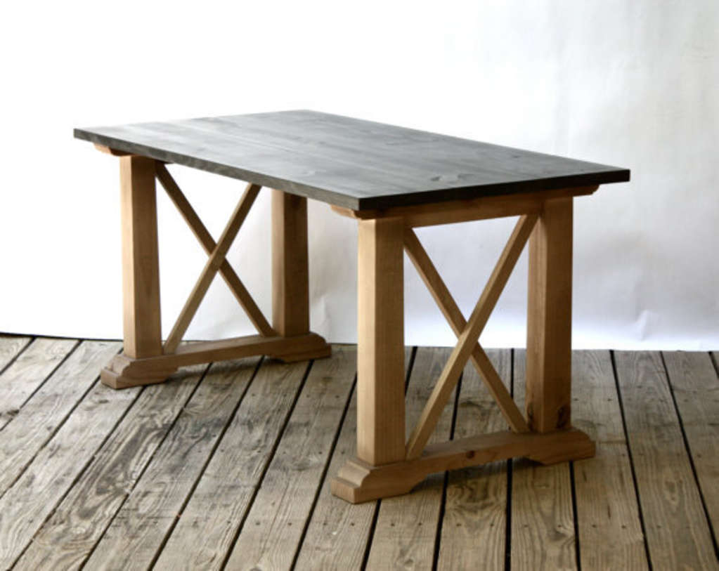marks the spot cross beam dining tables apartment therapy nolan extension trestle table reviews farmhouse and bench metal sideboard raw wood shelves foldable high top pedestal